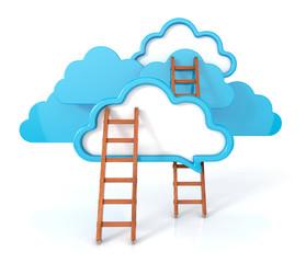 clouds with ladders on white. 3d render illustration.