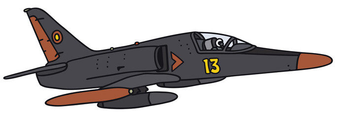 Black jet aircraft