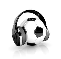 soccer ball (football) with headphones. 3d illustration