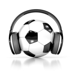 soccer ball (football) with headphones. 3d illustration