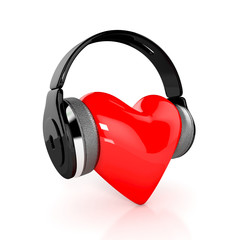 Red heart with earphones. 3d illustration