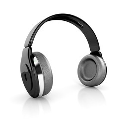 black modern headphones. 3d illustration isolated