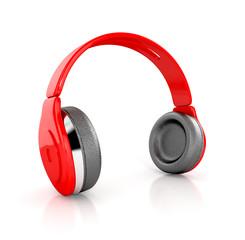 red modern headphones. 3d illustration isolated