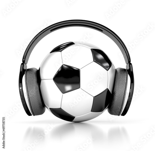 soccer ball (football) with headphones. 3d illustration - 69758735