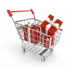 gift boxes in shopping cart