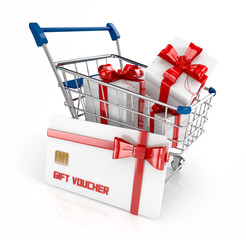 gift voucher, gift card with gift boxes in shopping cart