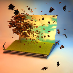 Magic book with tree on the page