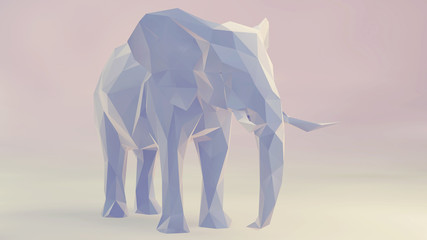 3d render of elephant, abstract geometric low poly.