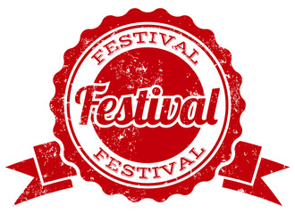 festival stamp with ribbon