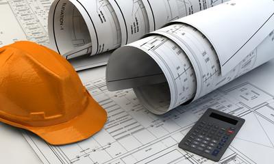 3d illustration of  Blueprints and construction equipment