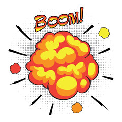 Comic book speech bubbles depicting of sounds explosions with
