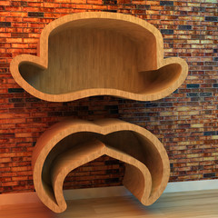 3d illustration of Bookshelf in shape of hat and mustache