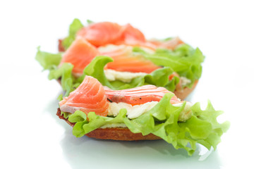 sandwich with salmon and cheese