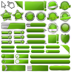 Collection of colorful green glossy 3d vector buttons