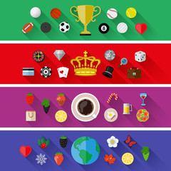 Set of nature, sports, food and drinks concepts. Flat design