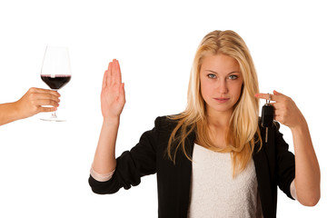 beautiful blond woman gesturing don't drink and drive gesture