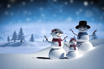 Composite image of digitally generated white snow family