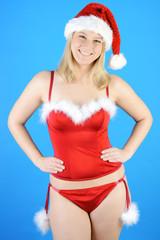 Frau in Weihnachtsmann Dessous zu Weihnachten