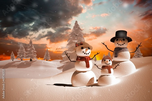 canvas print picture Composite image of snow family