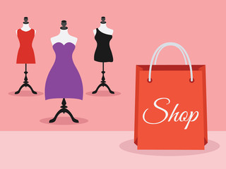 Mannequins with dresses and shopping bag, vector