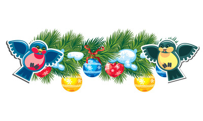 Christmas garland with small happy birds