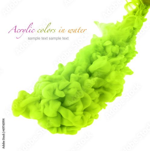 Foto op Aluminium Kleuren in het water Acrylic green colors in water. Abstract background.