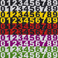 3d colorful set of vector numbers from 1 to 0.