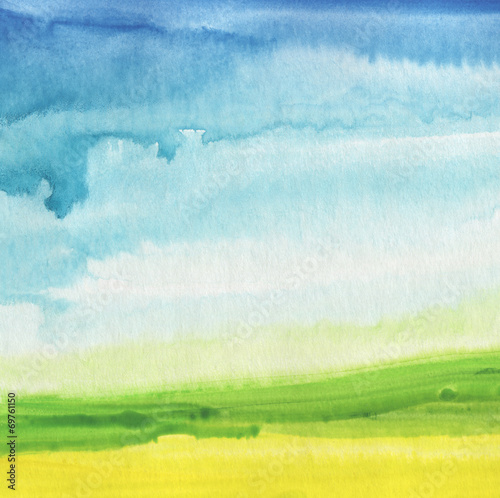 Fotobehang Geschilderde Achtergrond Abstract watercolor hand painted landscape background. Textured