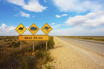 Australian Animals Road Sign