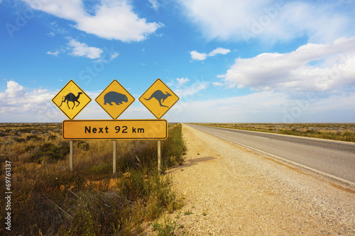 Fotobehang Kameel Australian Animals Road Sign