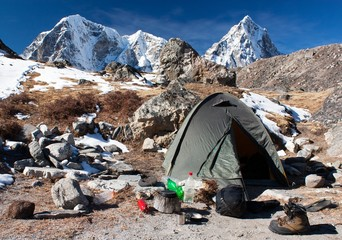 Camping site with tent near the Everest base camp
