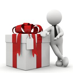 omino bianco con pacco regalo