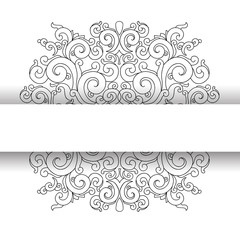 White background, black ornament made in oriental style.