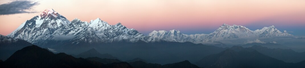 Evening panoramic view of Dhaulagiri and Annapurna