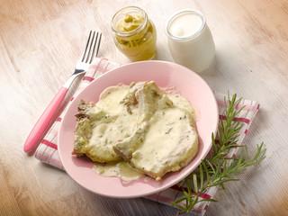 chump with mustard and yogurt sauce