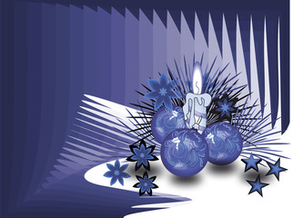 Christmas balls and candle on blue background
