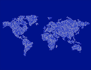 Dotted Map of the World Continents Random Blue