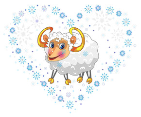 New Year lamb in the heart of snowflakes