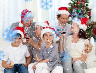 Composite image of family celebrating christmas