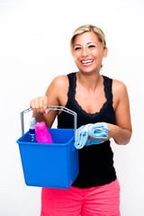 Clean Up with beauty woman