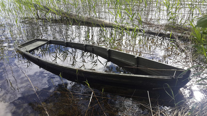 wrecked boat in a reed on a lake