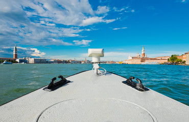 view of Piazza San Marco and San Giorgio Maggiore from ship. Ven