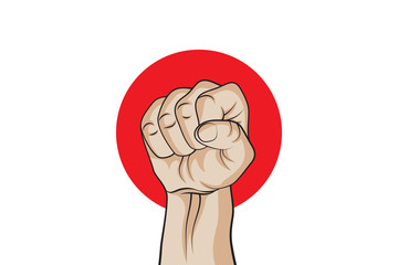 Fist on a background of the flag of Japan