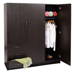Clothing closet against white background.