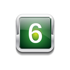 6 Number Rounded Rectangular Vector Green Web Icon Button