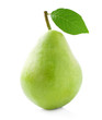 Ripe pear with leaf.