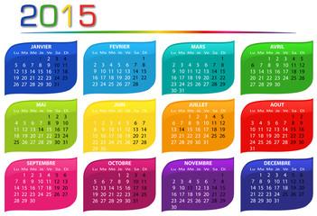 calendrier 2015 multicolore horizontal