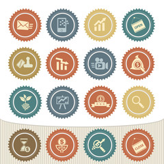 Marketing and strategy of business icon set,Retro button