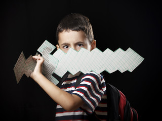 Boy with paper sword
