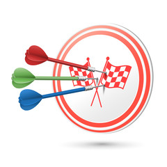 race concept target with darts hitting on it